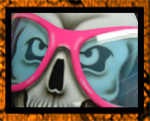 Crazy glasses and skull airbrushed on helmet
